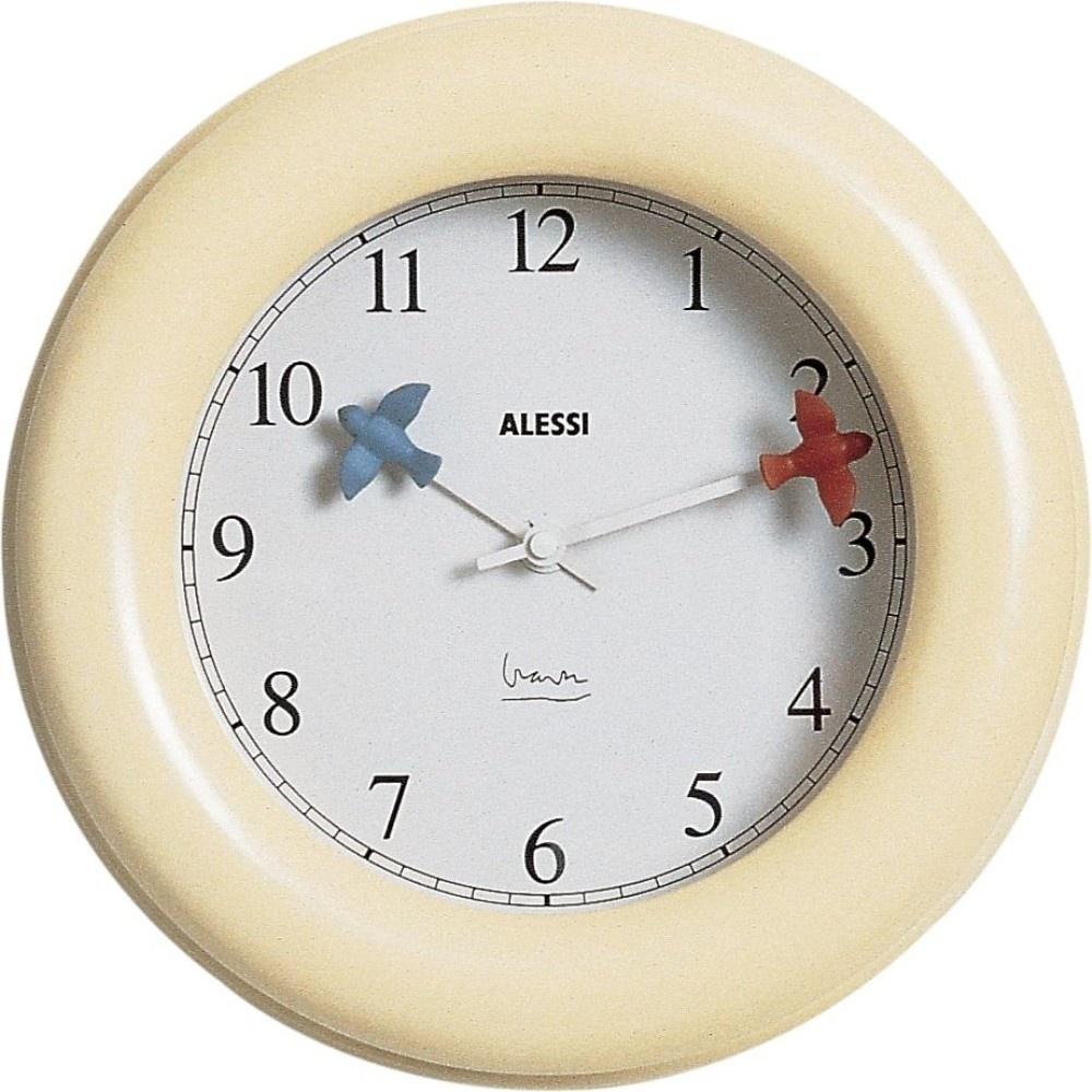 Alessi 10 kitchen wall clock in cream for Designer kitchen wall clocks