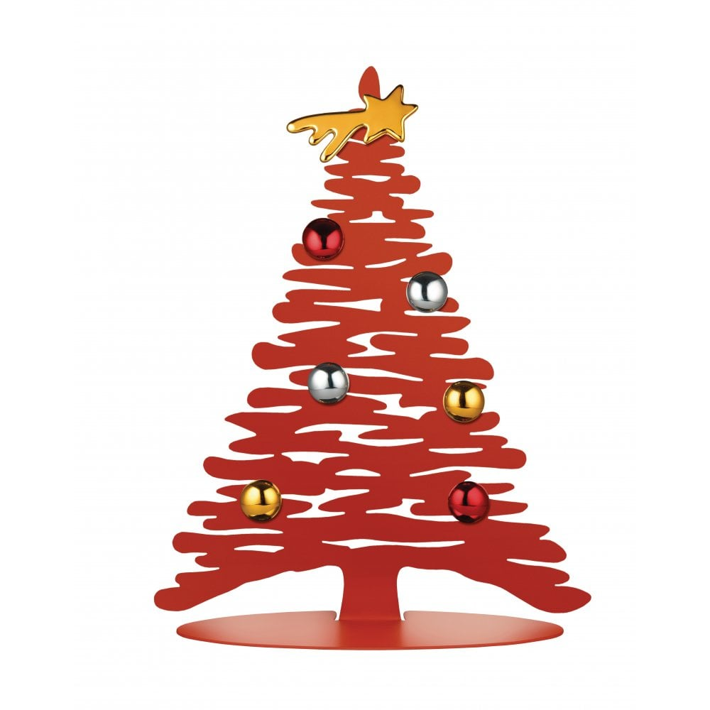 Christmas Tree Illustration.Bark Steel Christmas Tree Small Red 30cm