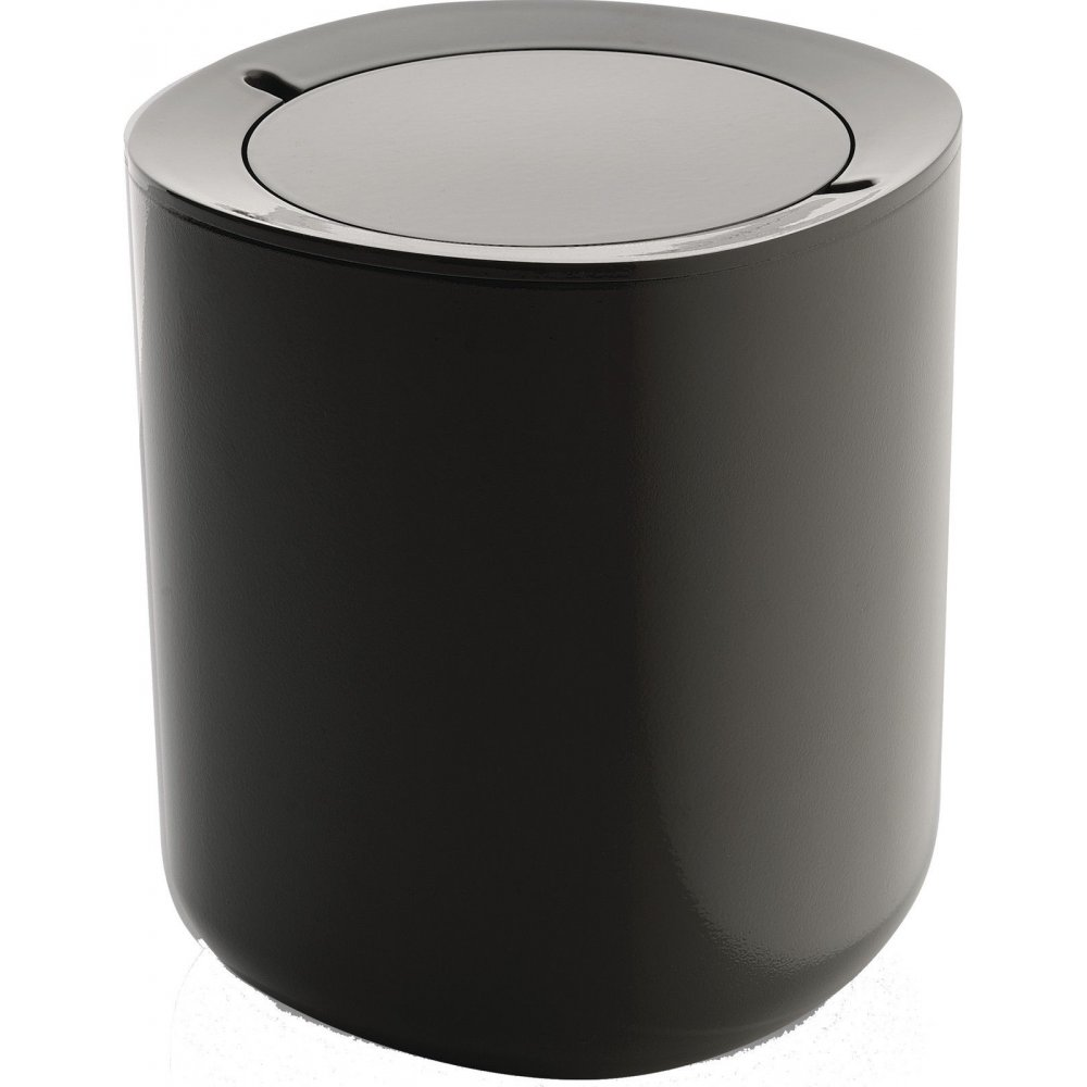 alessi birillo bathroom waste bin dark grey black by
