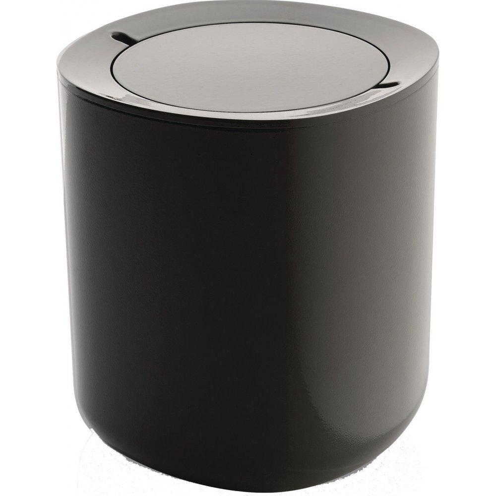 Alessi birillo bathroom waste bin dark grey black by for Grey bathroom bin