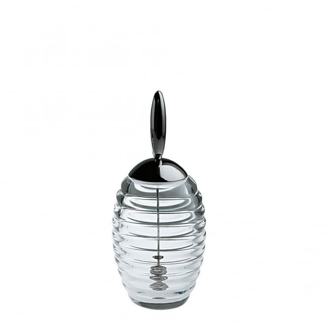 Alessi Crystal Honey Pot and Honey Dipper