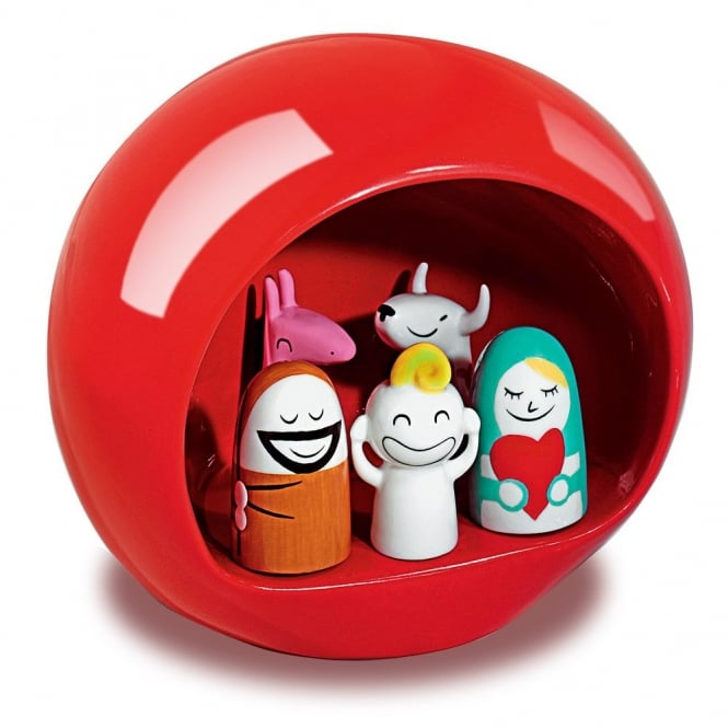 Alessi Presepe Stable Nativity Set - Red