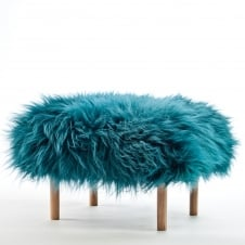 Bethan Baa Footstool - Teal Sheepskin