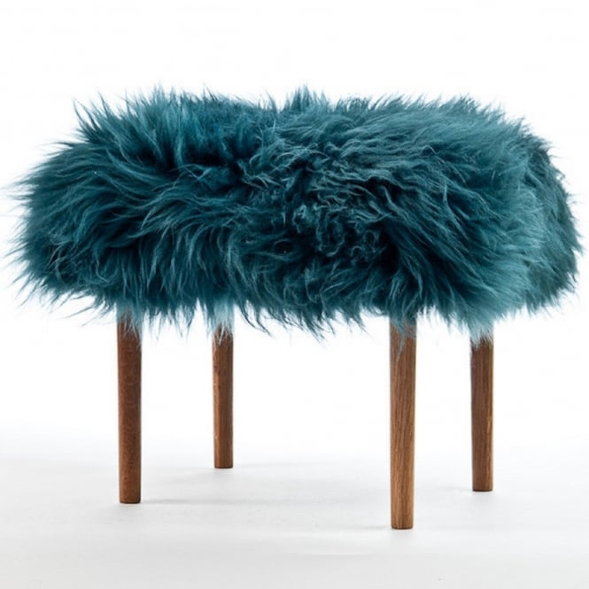 Baa Stool Ceri Baa Footstool - Teal Sheepskin