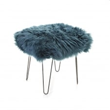 Ffion Baa Footstool - Teal Sheepskin