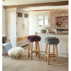 Gwyn Baa Bar Stool - Aubergine Sheepskin