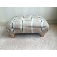 Upholstered Footstool in Bronte by Moon Arncliffe Beige Check - Medium