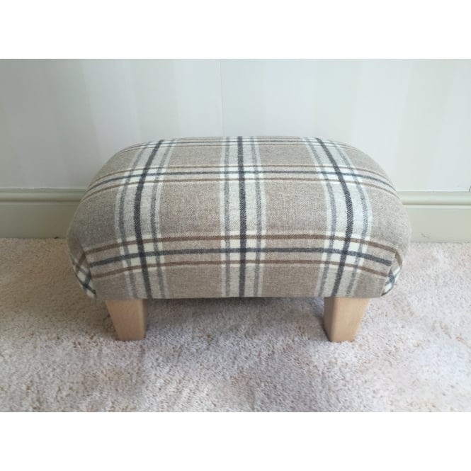 Hide & Thread Upholstered Footstool in Bronte by Moon Arncliffe Beige Check - Small