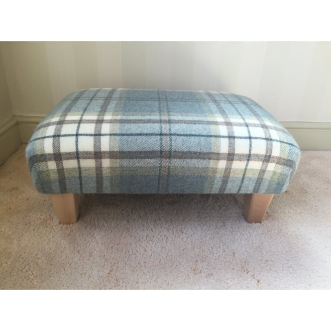 Hide & Thread Upholstered Footstool in Bronte by Moon Aysgarth Aqua Blue Check - Medium