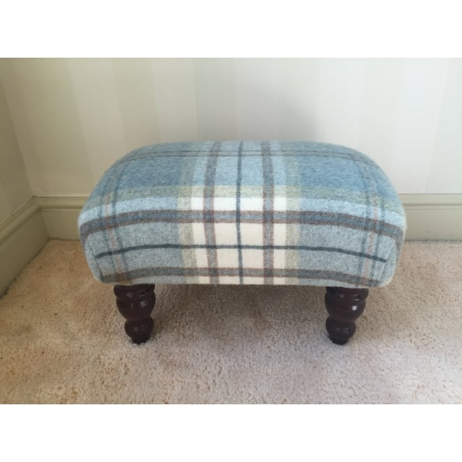 Hide & Thread Upholstered Footstool in Bronte by Moon Aysgarth Aqua Blue Check - Small