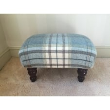 Upholstered Footstool in Bronte by Moon Aysgarth Aqua Blue Check - Small