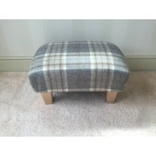 Upholstered Footstool in Bronte by Moon Aysgarth Mushroom Check - Small