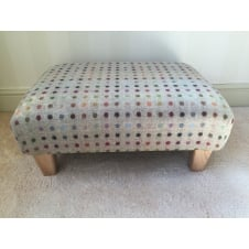 Upholstered Footstool in Bronte by Moon Beige Multi Spot Check - Medium