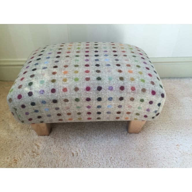 Hide & Thread Upholstered Footstool in Bronte by Moon Beige Multi Spot Check - Small