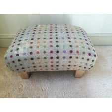 Upholstered Footstool in Bronte by Moon Beige Multi Spot Check - Small