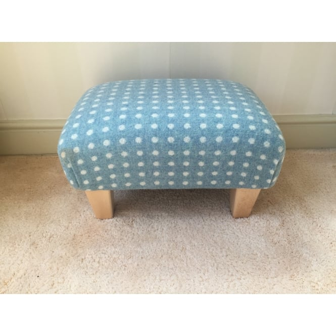Hide & Thread Upholstered Footstool in Bronte by Moon Eau de Nil Spot - Small