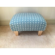 Upholstered Footstool in Bronte by Moon Eau de Nil Spot - Small