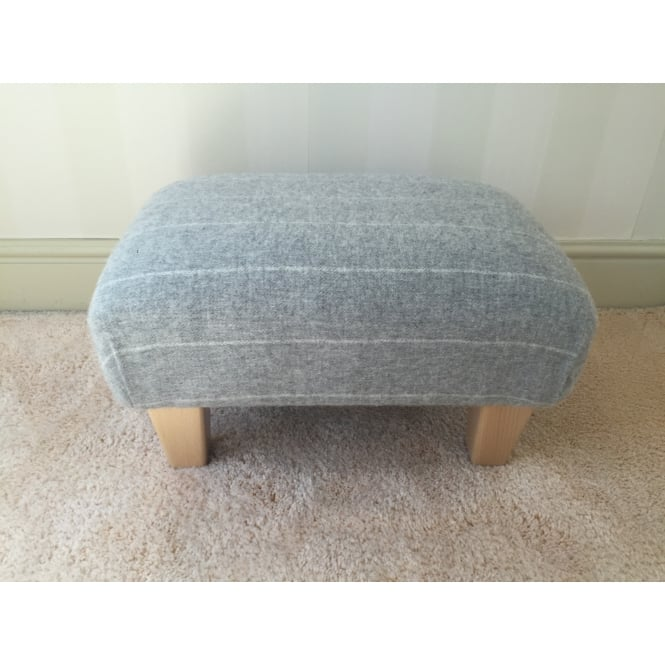 Hide & Thread Upholstered Footstool in Bronte by Moon Grey Pinstripe - Small