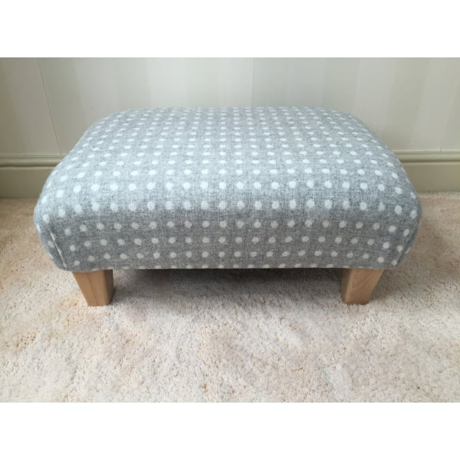 Hide & Thread Upholstered Footstool in Bronte by Moon Grey Spot - Medium