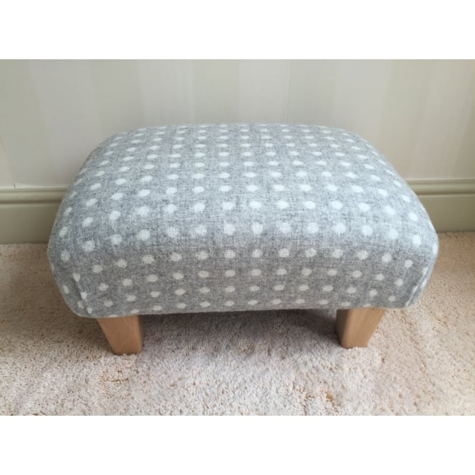 Hide & Thread Upholstered Footstool in Bronte by Moon Grey Spot - Small