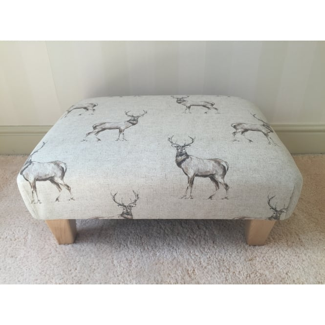 Hide & Thread Upholstered Footstool in Cotton with Stag Design - Medium