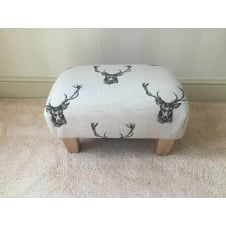 Upholstered Footstool in Cotton with Stag Design - Small