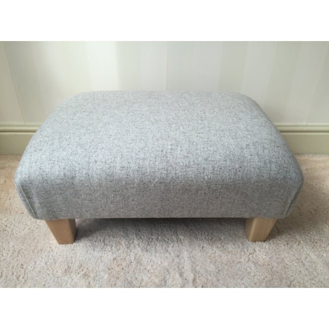 Hide & Thread Upholstered Footstool in Naturally Moon Deepdale Dove - Medium