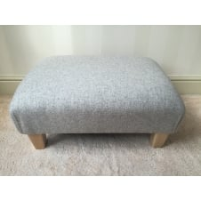 Upholstered Footstool in Naturally Moon Deepdale Dove - Medium