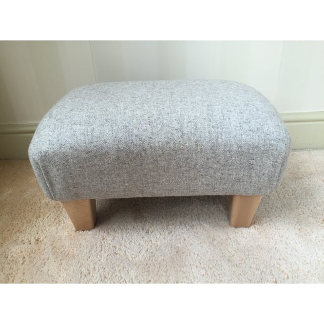 Hide & Thread Upholstered Footstool in Naturally Moon Deepdale Dove - Small