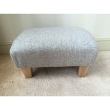 Upholstered Footstool in Naturally Moon Deepdale Dove - Small