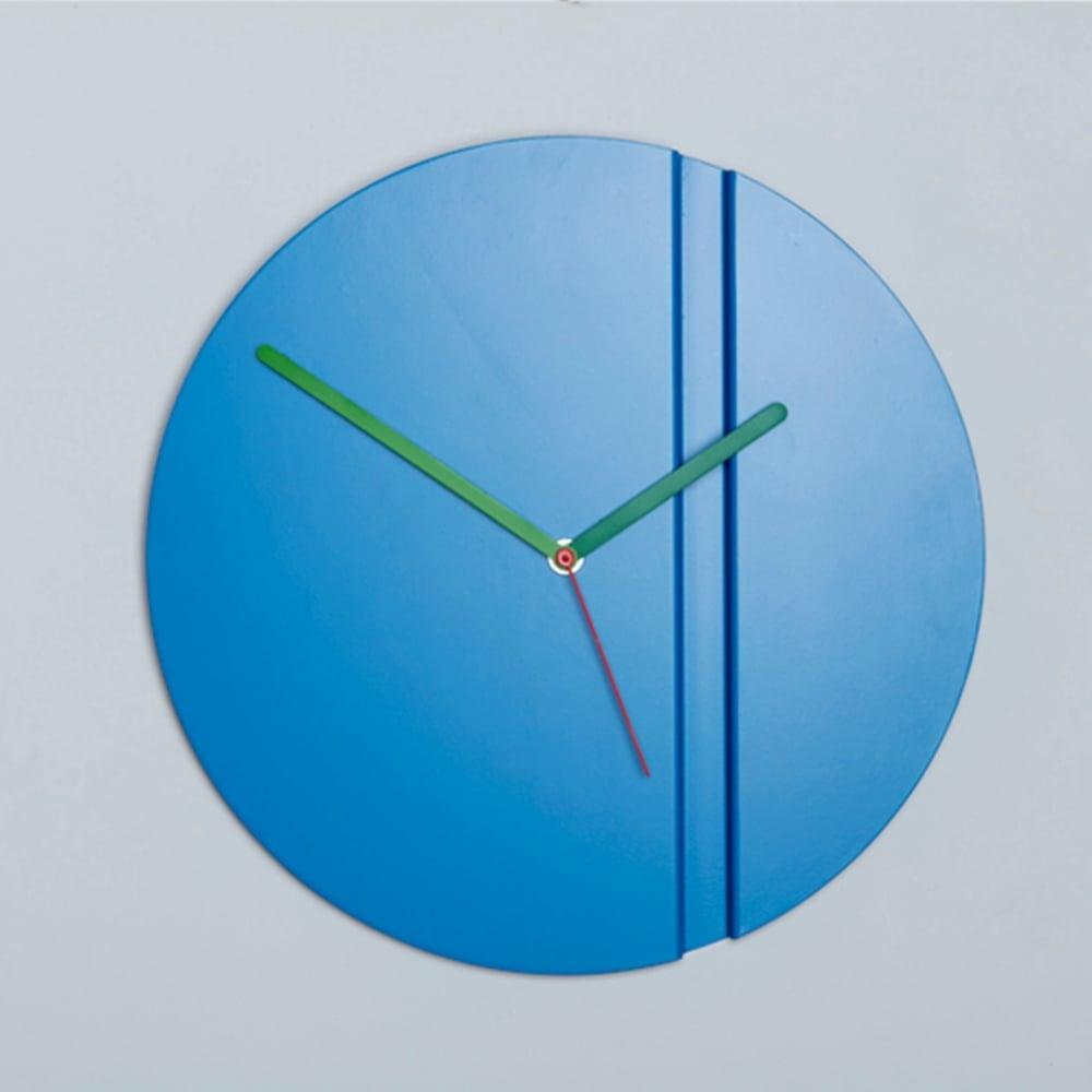 block design pleat fold steel wall clock blue black by