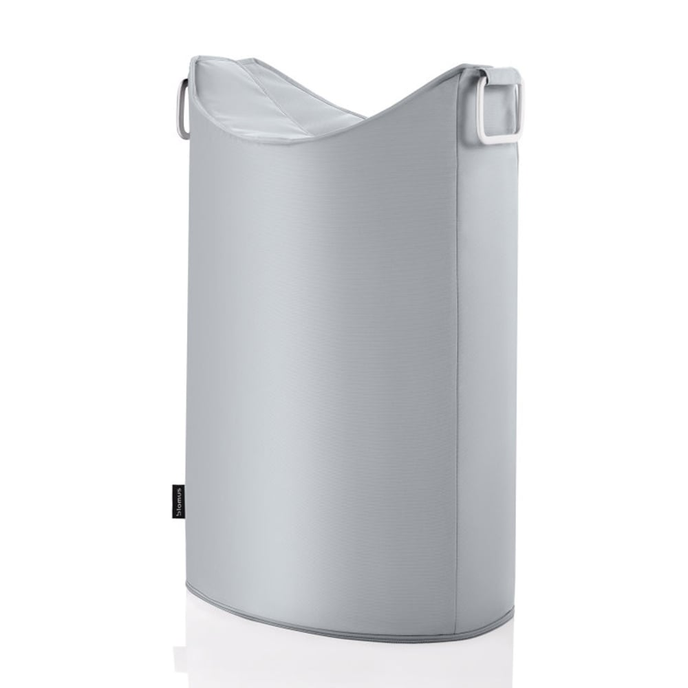 Blomus frisco laundry bin silver grey black by design for Grey silver bathroom accessories