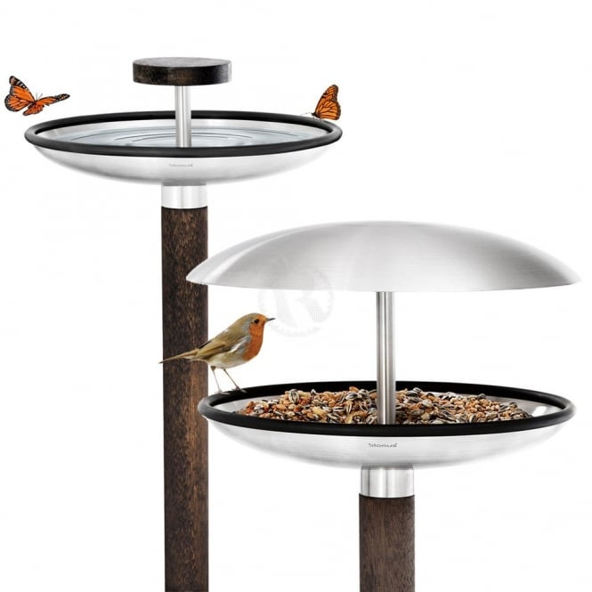 Blomus Fuera Stainless Steel Bird Feeder and Bird Bath