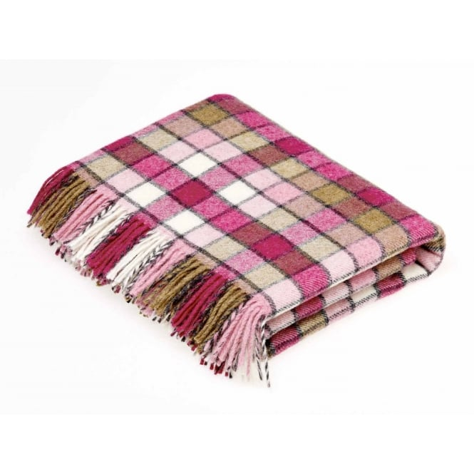 Bronte By Moon Berlin Check Pure New Wool Throw - Pink/Natural