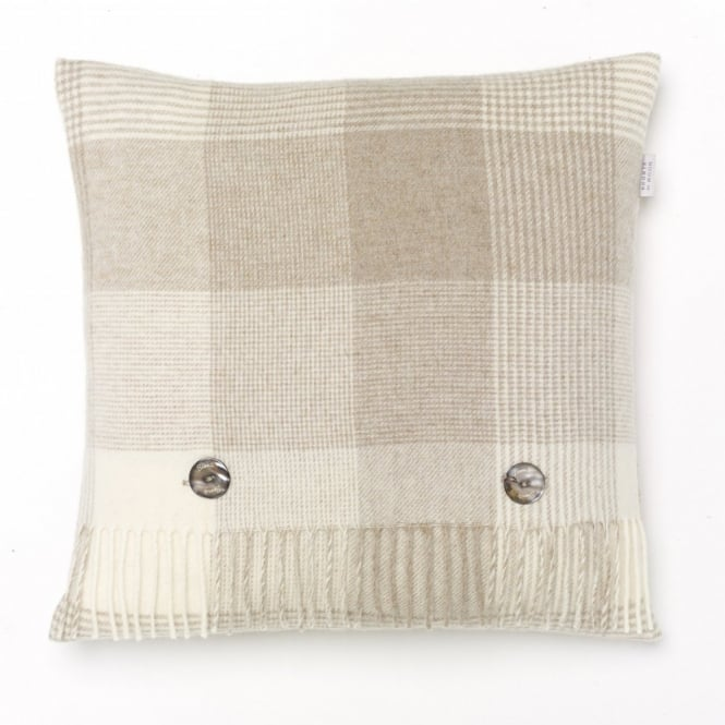 Bronte By Moon Blanket Check Lambswool Cushion - Beige