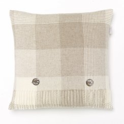Blanket Check Lambswool Cushion - Beige