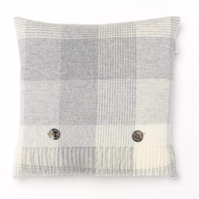 Bronte By Moon Blanket Check Lambswool Cushion - Grey