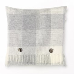 Blanket Check Lambswool Cushion - Grey