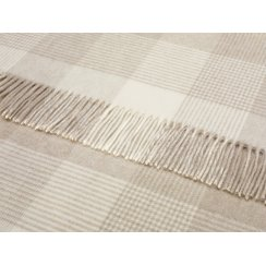 Blanket Check Lambswool Throw - Beige