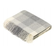 Blanket Check Lambswool Throw - Grey