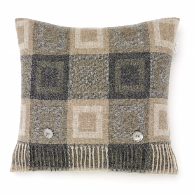Bronte By Moon Double Square Lambswool Cushion - Grey
