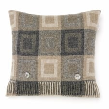 Double Square Lambswool Cushion - Grey