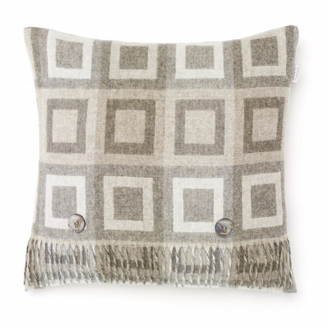 Bronte By Moon Double Square Lambswool Cushion - Natural
