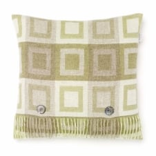 Double Square Lambswool Cushion - Sage
