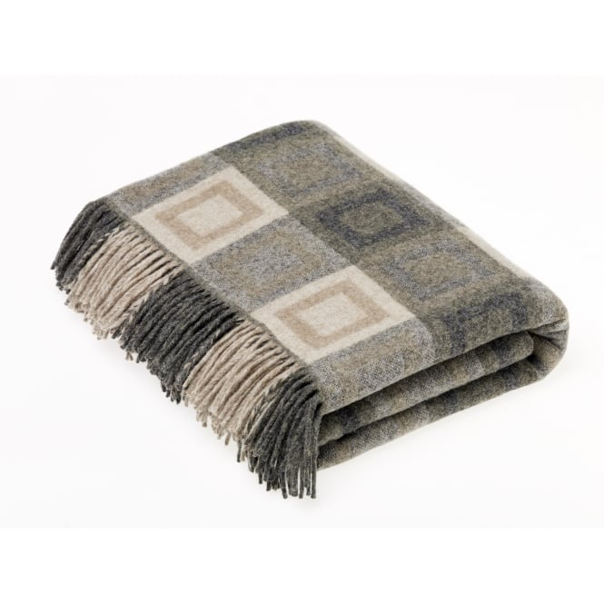 Bronte By Moon Double Square Lambswool Throw - Grey