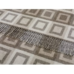 Double Square Lambswool Throw - Natural