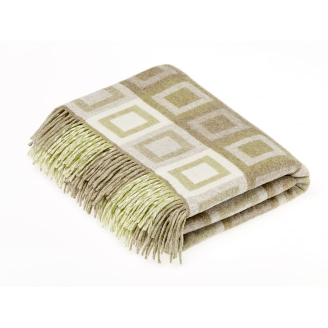 Bronte By Moon Double Square Lambswool Throw - Sage