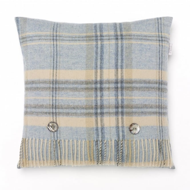 Bronte By Moon Heather Check Lambswool Cushion - Aqua