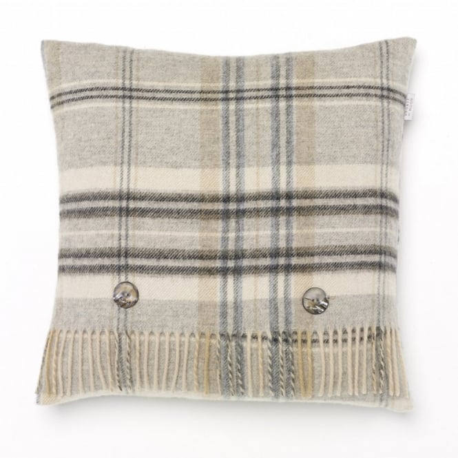 Bronte By Moon Heather Check Lambswool Cushion - Grey