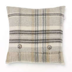Heather Check Lambswool Cushion - Grey